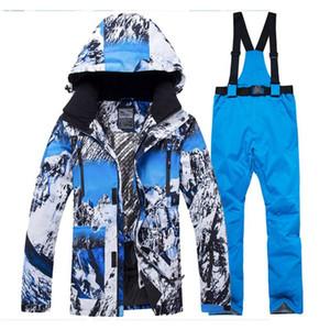 Лыжные лыжные куртки -30 мужской снежный костюм наборы сноубординг одежда зима на открытом воздухе лыжная одежда водонепроницаемые костюмы и ремень штаны мужской