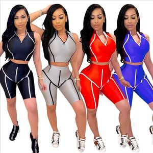 2020 Women Sets Summer Tracksuits Fitness Sleeveless V Neck Tops Shorts Suit Two Piece Set 2 Pcs Night Club Party Outfits GL723