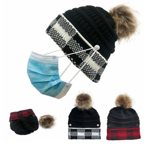 Women Pompom Knitted Cap Detachable Button Woolen Beanie Winter Warm Hats Fashion Grid Thick Outdoor Ski Cap DDA695