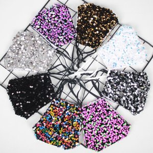 Fashion Sequin Shiny Design Mask Dust Adjustable Mask Adult Breathable Clean Reusable Face Mask 15 styles FWA2519