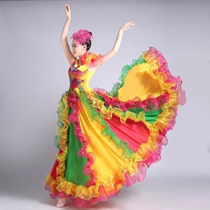 Chinese Folk Dance Costume for Woman New The Opening Dance Dress Adult Female Color Dress Modern Performance