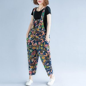 Supermiss Women Plus Size Tuta Denim Tuta 2020 Cinturini casual Pagliaccetto Gamba larga Pantaloni a gamba Pantaloni a caviglia Pantaloni Pantaloni stampati tuta