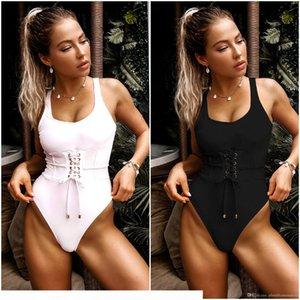 Women Sexy Swimwear Bikinis 2020 New Beach Summer Strappy Sashes Bandage Swimming Monokini One-Piece Swimsuits Swim Bathing Suit Beachwear