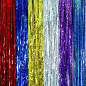 5pcs lot 1Meter Gold Foil Fringe Tinsel Curtain Tassel Garlands Wedding Photography Backdrop Birthday Party Decoration