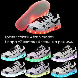 7ipupas LED Crianças sapatos com carga USB 11 cores Boygirl brilhando lâmpada controlável piscando esporte casual luminous tênis C0120