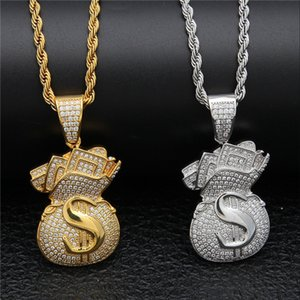 Gold Plated Iced Out CZ Cubic Zirconia Mens USD Money Bag Pendant Chain Necklace personalized Full Diamond Hip Hop Jewelry Gifts for Men .