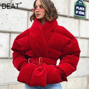 DEAT new winter fashion women clothes Cotton-padded Clothes wine red color waist belts adjusted 19F-a137-03 201215