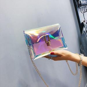Female Ladies Clutches Beach Bag Lady Purse Sac Laser Transparent Pvc Shoulder Bags In Womens Totes Handbag Messenger Bag