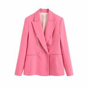 2020 new casual pink za women blazer outwear female fashion double breasted long sleeve summer jacket for office lady blazers B1203