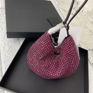 Wang ins wanghong same type of water diamond flash drill hand carrying armpit half round bag