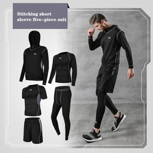 Manufacturer Hot Selling Men S Fitness Clothing Five-Piece Quick-Drying Short-Sleeved Running Suit Basketball Training Suit Outdoor Sports
