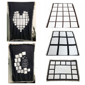 Sublimation blanks Blanket Plaid with Tassels 9 15 20 Grids Mat Heat Transfer Printing Sofa Throw home outdoor Blankets sea ship CYF4591-3
