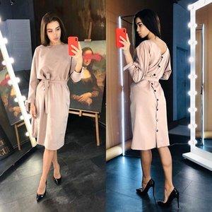 DABOURFEEL Seksi Backless Düğme Sashes Bilek Yay Gevşek Elbise Kadın O-Boyun Uzun Kollu Midi Elbise Rahat 2020 Parti Kulübü Moda