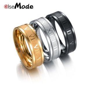 Elsemode 8 mm 316L 스테인레스 스틸 웨딩 밴드 링 로마 숫자 Gold Black Cool Punk Rings 남성 여성 패션 쥬얼리