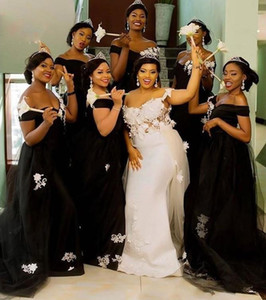 Cheap New Arrival African Black Girls Mermaid Bridesmaid Dresses Off Shoulder White Lace Appliques Wedding Guest Dress Maid of Honor Gowns