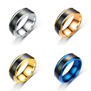 Medición de temperatura Anillo de acero de titanio Hombres Inteligencia TermorSponsive Anillos Moda Multicolor Ornamento impermeable Venta caliente 1 8ZL J2