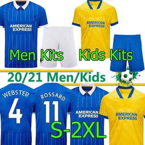 Brighton & Hove Albion Homens kits Conjuntos Kids Hove Albion Soccer Jerseys 2020 2021 Maupay Lallana Dunk Hove Albion Connolly Trosse de Camisetas Camisas Futebol Shirts