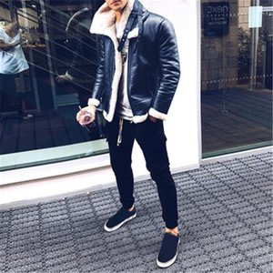 Men Fur Collar Jackets Fashion Trend Fur Woolen Thicken Warm Turtleneck Cashmere Zipper Coats Designer Winter Male New PU Leather Jackets