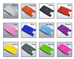 Double-deck Phone Sticky Wallet Silicone Self Adhesive Card Pocket Colorful Card Wallet Silicone Phone Pouch 3M Sticky