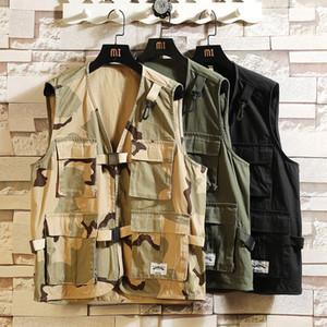 Sleeveless Jacket Fashion Vests For Men's Pocket Photography Waistcoat Casual Spring Autumn Outdoors Black 2020 Fishing