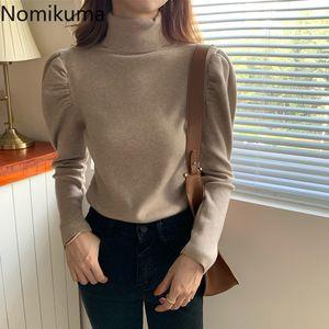 Nomikuma Autumn Winter Turtleneck Pullover Knitwear Korean Puff Long Sleeve Women Knitted Tops 2020 Slim Baisc Pull Femme 6D078 Q1116