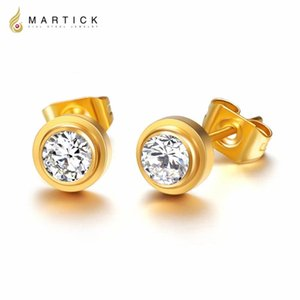 Martick Gold-color Stainless Steel Earrings For Women Rose Gold-color Round Single CZ Earrings Studs Best Jewelry Gift E155