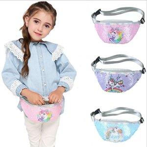 Unicorn Waist Bag Sequins Glitter Purse Zip Messenger bag Outdoor Sport Bag Mermaid Sequin Shoulder Bags