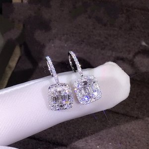 Luxury Jewelry 925 Sterling Silver T Shape White Topaz CZ Daimond Women Wedding Gemstones Earring Hook For Lovers' Gift