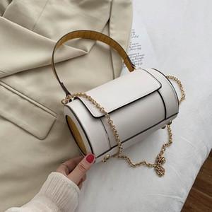 단일 어깨 체인 가방 베개 가방을 가로 질러 경사 솔리드 컬러 스플 라이스 보스턴 원통형 핸드백 레이디
