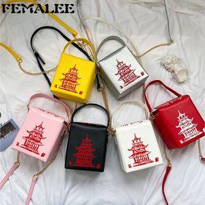 Mulheres Mini tamanho Bucket Bolsa Novidade Bonito Torre de Ferro Vermelho Impressão Ombro Tote Creative Chinês Chain Messenger Bag Q1208