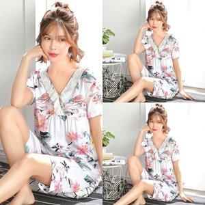 Aprgf Yeni 2019 Rayon Pamuk PijamaShort Kollu Pantolon İki Parçalı Suit Doğrudan Satış Yeni 2019 Pijama Kadın Rayon Pamuk Pijama PijamaShort