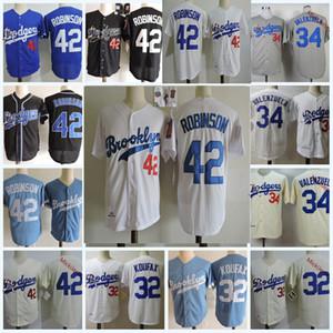 Mens 1955 Brooklyn # 32 Sandy Koufax Jersey Stiched White Grey Blue # 42 Jackie Robinson Jersey # 34 Fernando Valenzuela Jersey S-3XL