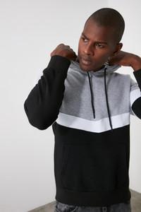 Trend Gray Men's Paneled Hooded Kangaroo Pocket Men's Sweatshirt