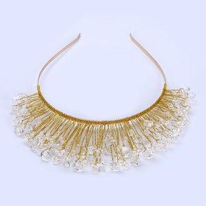Tuanming Tasarım Altın Kristal Cam Boncuk Gelin Düğün Çiçek Kafa Düğün Tiara Saç Takı Saç Klip Tarak Kadınlar Takı