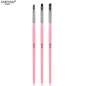 3Pcs Flat Builder Clean Up Pen Brush Carving UV Gel Polish Acrylic Extension Nail Art Tips Painting Drawing Manicure Tools Set