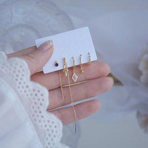 Coréen New Design Fashion Bijoux 5 pièces Ensemble Bowknot Géométrique Long Tassel Femelle Boucles d'oreilles sauvages