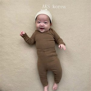 Spring INS Fashions Baby Girls Clothing Sets Plain Pure Cotton Long Sleeve Tops Pants Autumn Winter Infant Clothes Suits Outfits