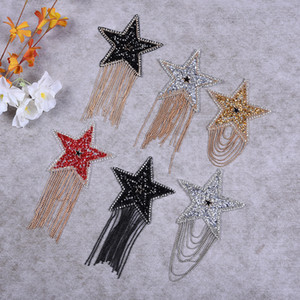 Tassel Sequin Star Applique Patch Rhinestone Embroidery Iron on Patches for Clothing Bags Hats bags Stickers