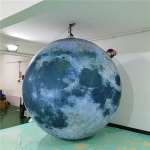 Hanging llluminated Inflatablers Planet Inflatable Balloon Moon With LED Strip and Blower For Nigthclub Ceiling Stage Decoration