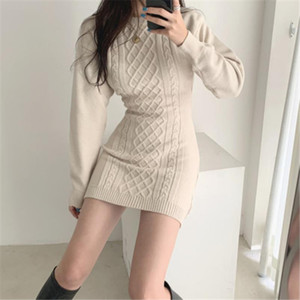 Fashion Hollow Out Waist Sweater Dress Women Autumn Winter High Elastic Twist Knitted Dress Casual Bodycon Mini 3 Colors