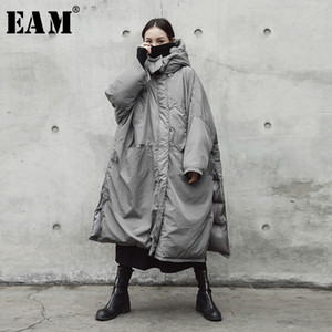 [EAM] Hooded Cotton-padded Gray Oversize Long Warm Coat Long Sleeve Loose Fit Women Parkas Fashion Spring Autumn 2020 JE02002 A1113