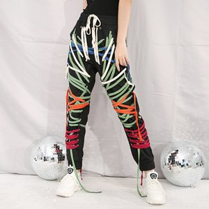 [Eam] Taille élastique Haute String Bandage Pantalon Harem Long Nouveau Pantalon Fit Femmes Femmes Mode Tide Spring Automne 2020 WN15101 A1113