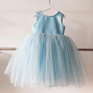 Setwell Jewel Neck A-line Flower Girls' Dresses Sleeveless Pleated Tulle Pearls Floor Length Princess Pageant Gowns