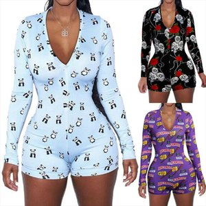 2020 Sexy Women Deep V neck Bodycon Sleepwear Jumpsuit Button Bodysuit Shorts Romper Floral Leotard Long Sleeve Print Tracksuit