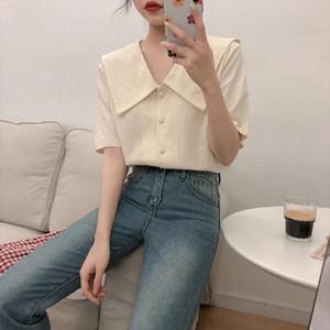 2020 New Korean Preppy Style Turn down Collar Short Sleeve Shirt Women Summer Small Fresh Blouse Woman Cute Blusa Tops