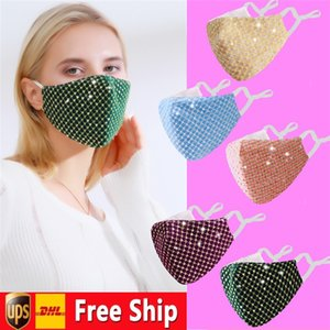 Designed Sequined Party Face Masks For Adults Adjustable Earloop Anti Dust Windproof Cloth Mask Can Put PM2.5 Filters AHA2562