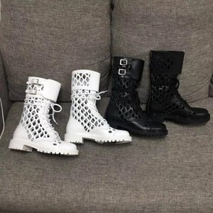Hot Sale-2020ss Womens Sneakers D Trap Ankle Boot Double flap with buckles Fishnet cutout Ankle Boots Hiking Sneaker BOOTS fashion Shoes