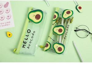 Cute Kawaii Cartoon Avocado Pencil Bag Mini PVC Transparent Stationery Pen Box Storage for Boy Girl Student School Supplies
