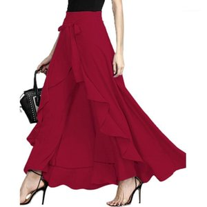 2020 Yeni Kadın Yüksek Bel Maxi Etek Düzensiz Hem ile A-Line Lace Up Pileli Ruffles Uzun Etekler Katı Renkli Yaz Auutmn1