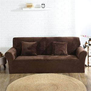 Thick Plush Sofa Covers for Living Room Elastic Solid Color Couch Cover Universal Sectional Sofa Slipcovers 1 2 3 4 seater 201221
